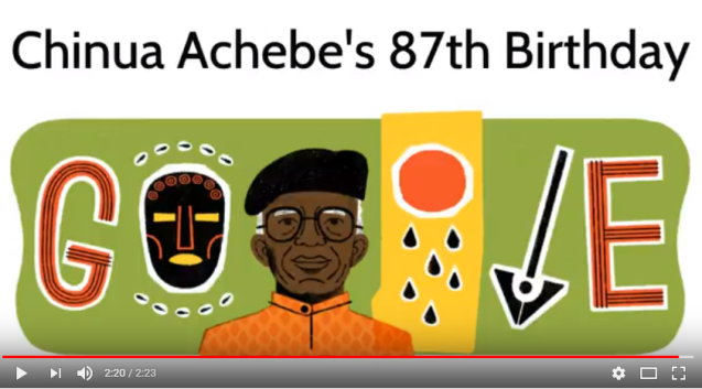 Chinua Achebe Google Doodle Chinua Achebe_s 87th Birthday YouTube