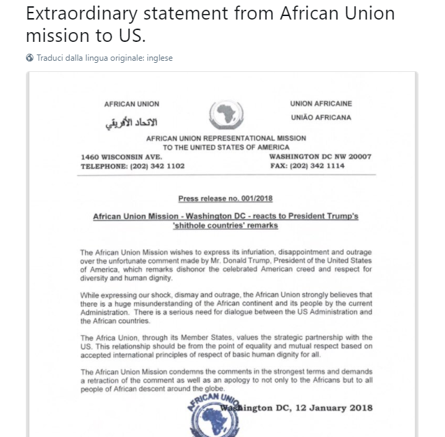 Elise Labott su Twitter Extraordinary statement from African Union mission to US https t co HSQglDgDAk