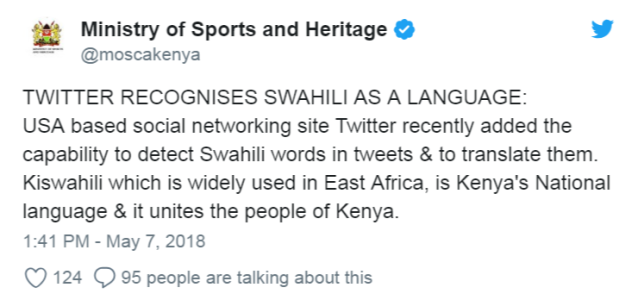 Swahili makes history as first African language recognized by Twitter